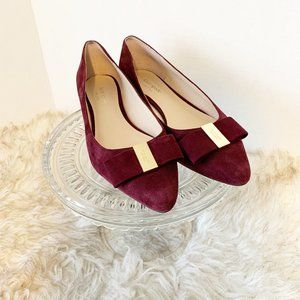 Kate Spade Norah suede pointed flats in burgundy 9